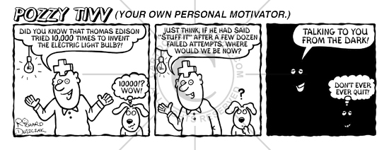 Motivational cartoon strip - Thomas Edison tried 10000 times before inventing the light bulb.