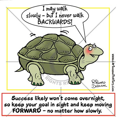 cartoon of a positive thinking tortoise