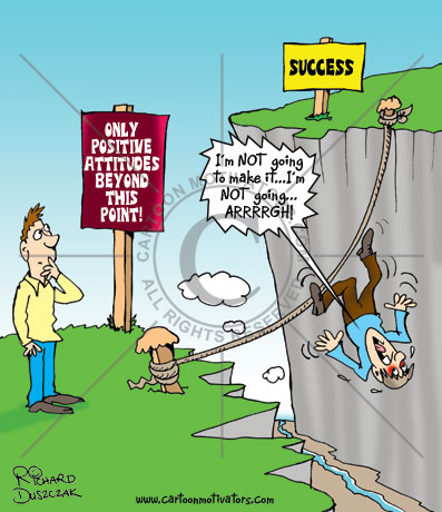 positive attitude, Cartoon with sign, Only positive attitudes beyond this point! Guy with a negative attitude is falling from tightrope.