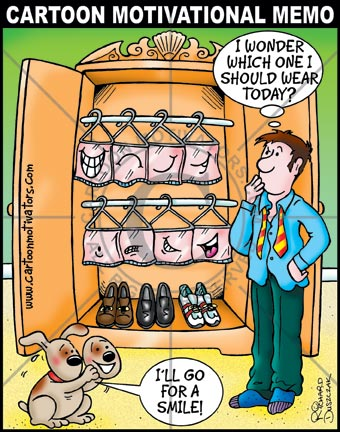 People do business with people whom they like, cartoon of guy opening wardrobe which has different expressions hanging inside it. He's going to choose a smile.