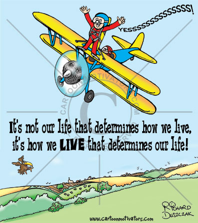 live life, cartoon of character wing walking and screaming  YESSSSSSSS!