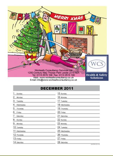 health and safety cartoon calendar, safety cartoon calendar, Christmas trip hazard