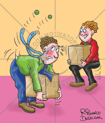 Cartoons Are Such Effective Communicators, health and safety cartoon, guy not lifting correctly, other guy showing you how to lift from the knees