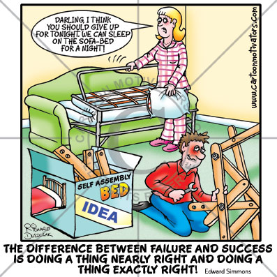 success v failure, cartoon of guy doing self assembly badly, trying to put self assembly bed together, they're going to sleep on the pull out sofa instead
