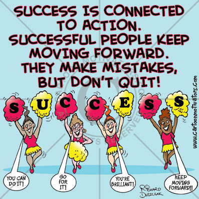 """cartoon of cheerleaders spelling out SUCCESS as they shout """"You can do it!"""" """"Go for it!"""""""