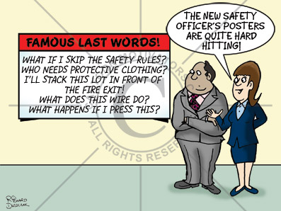 Health and safety cartoons - hard hitting health and safety poster on the wall. H & S officer has outlined some serious issues.