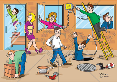 Health and safety cartoons. Cartoon showing various health and safety hazards around the workplace. Guy falling down a manhole that has the cover removed. Guy over-reaching on a ladder