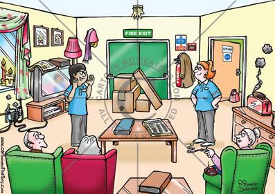 health and safety cartoons, safety hazards illustrated, hazards cartoons, fire hazards, fire safety hazards
