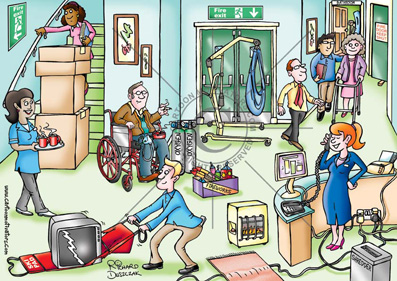 Health and safety cartoons - Care home fire hazards. Fire hazards care home, spot the fire hazards, blocked fire exit, overloaded socket, covered smoke detector, naked flames, patient smoking, toaster about to set fire, fire door wedged open, fire extinguisher covered over out of sight