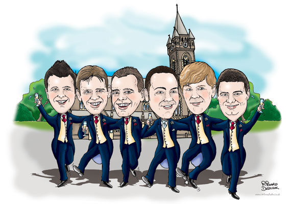 caricature created from photos - picture of bridegroom, bestman and users outside church