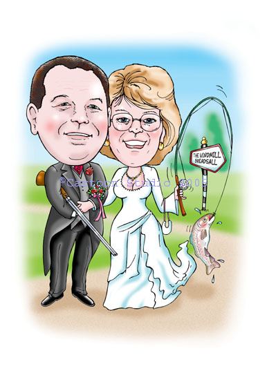 personalised wedding caricature drawn from photos. Bridegroom is holding a shotgun as shooting is his main hobby and the bride is holding a fishing rod with a trout on the end of it. As you can see anything goes in caricatures!