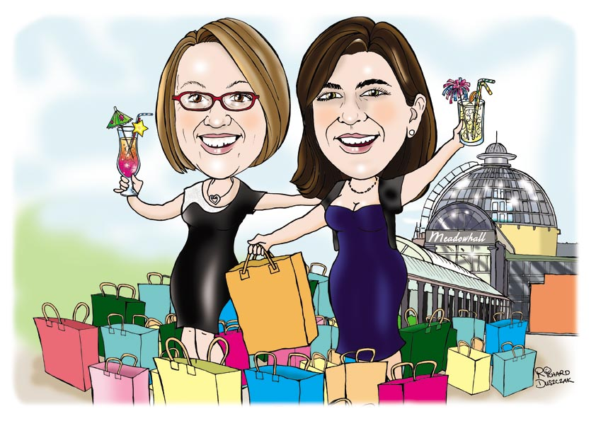 personalised caricatures from photos illustrating two ladies who have been on a shopping expedition to Meadowhall Sheffield. Both holding cocktails and have loads of designer shopping bags