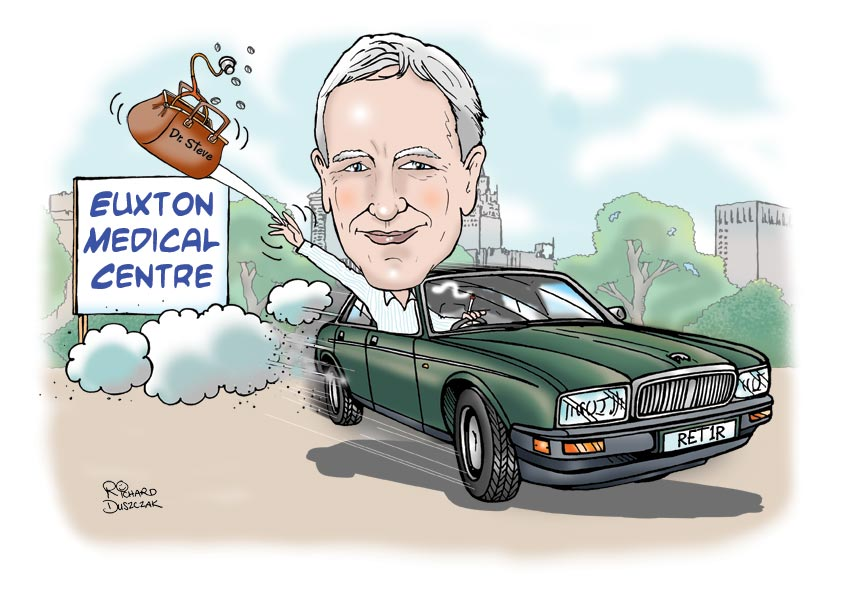 personalised caricature from photos of a guy who is retiring from his job as a doctor, speeding off in his cartoon Jaguar and throwing away his doctor's medicine bag