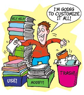 cartoon motivator of guy sorting out all his books.