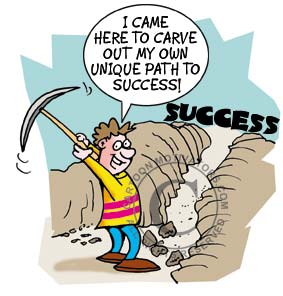 Cartoon of guy digging a pathway to success. I cam here to carve out my own unique path to success