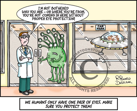 cartoon of alien stood outside offices, spaceship in car park, health and safety cartoon