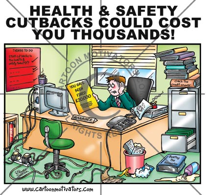 health and safety cartoon of a guy in his office, various health hazards like: broken office chair, trip hazard on open drawer of filing cabinet, overloaded socket, slip hazards
