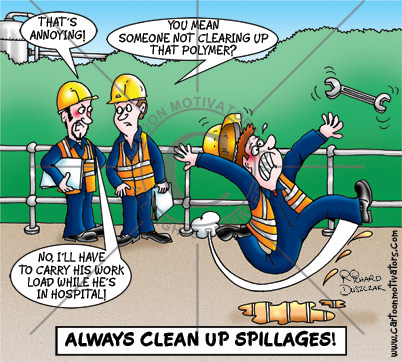 Slips and Trips Health and Safety Cartoon   Always Clean Up Spillages!