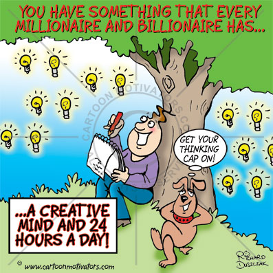 you can be a millionaire cartoon, guy and his dog sat under a tree thinking of creative ways to become a millionaire, in fact a billionaire, loads of 'light bulb' ideas in the sky, using your creative mind