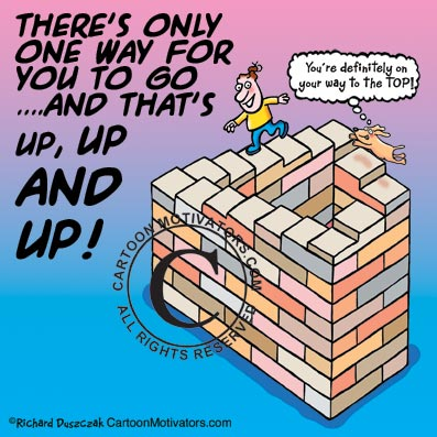 optical illusion cartoon of guy running up never ending steps. There's only one way for you to go UP Up Up!