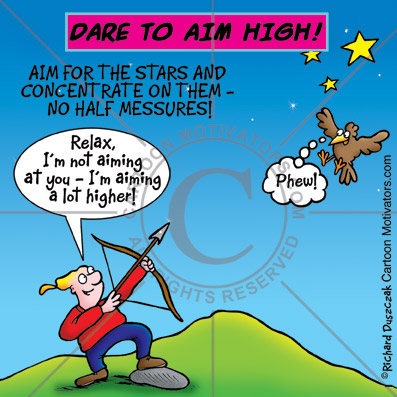 motivational cartoon - dare to aim high. cartoon of guy with bow and arrow aiming at the moon, there's stars in the sky and also a bird.