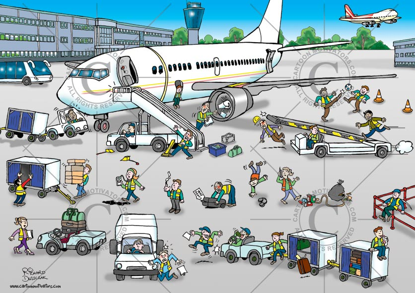 health and safety cartoons depicting hazards based around an airport. Airline ground staff safety hazards, cartoon showing luggage cart hazards, trip and slip hazard, woman slipping on oil spill, staff member about to trip over rubbish/garbage, woman walking in high heels, luggage cart piles high with cases