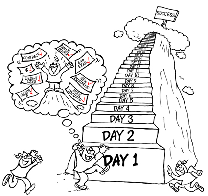 100 Day Challenge, cartoon of guys at the bottom of a set of steps that are labelled Day 1, Day 2, etc. 100 days up the steps and you reach success.