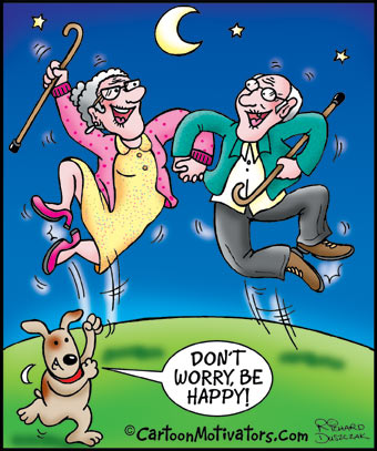 cartoon of old couple dancing about being happy, don't worry be happy says cartoon dog