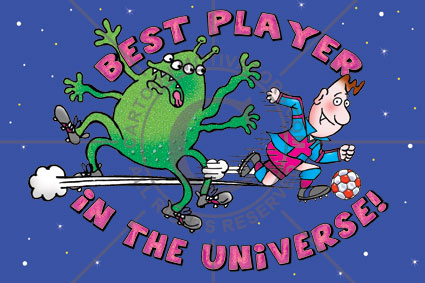 BestPlayer-football motivation- Best football/soccer player in the universe cartoon. Footballer soccer layer running past an alien footballer