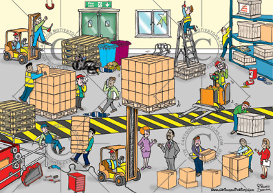 warehouse health safety hazards Health and safety cartoon    spot the hazards in a warehouse. Warehouse hazard spotting cartoon.