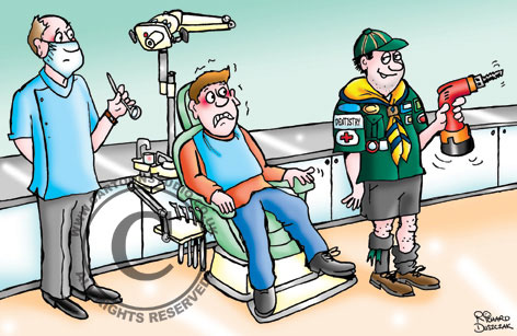 """professional dentist with terrified patient in chair look on as boy scout wants to practice his dentistry on him. Make sure you use a professional cartoonist and not an amateur."""""""