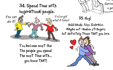 37 Principles For An Amazing Life - cartoon of people hugging and inspirational people encouraging another person