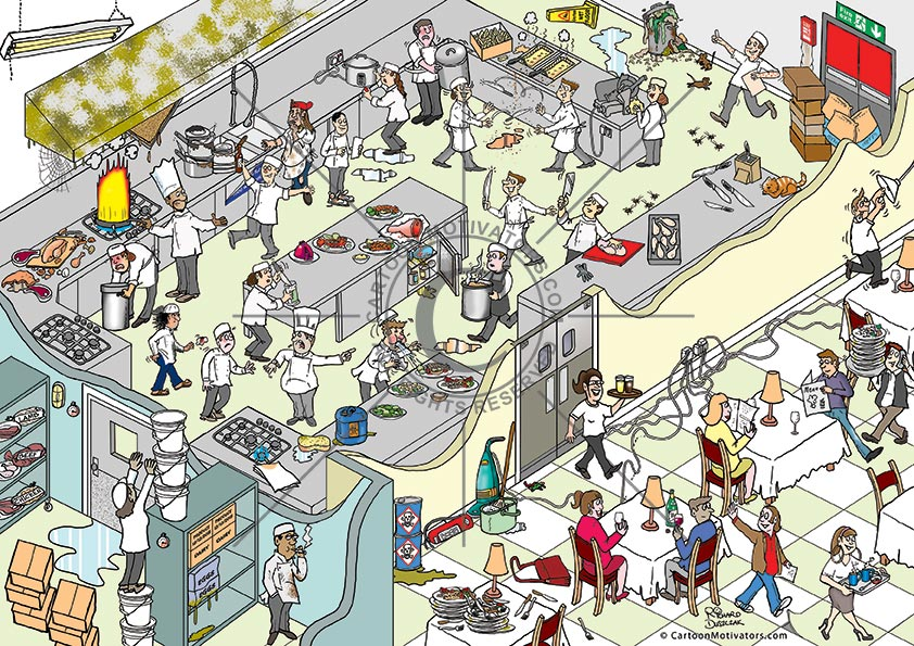 Restaurant kitchen health and safety hazards - spot the hazards cartoon. Hazards in a restaurant kitchen and restaurant. Numerous health and safety hazards in this restaurant kitchen cartoon. Poster size cartoon