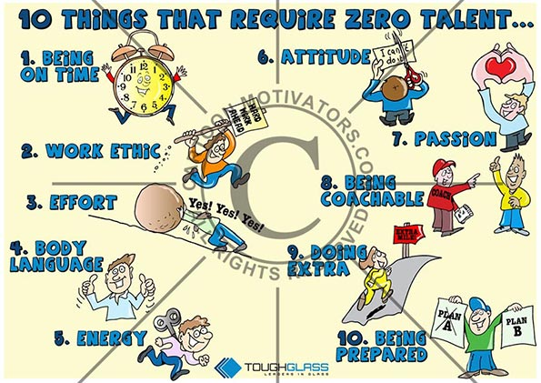 10 Things That Require Zero Talent! Motivational cartoon with clock for being on time, guy running with sign for Work Ethic, guy pushing a boulder up a lil for Effort, thumbs up for Body Language, guy with wind up key in his back for Energy etc