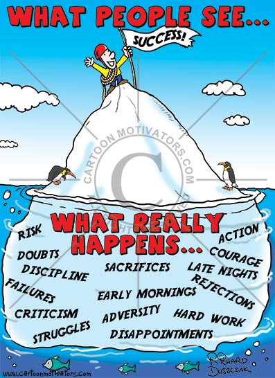 cartoon of an iceberg illustrating that success isn't easy, guy at top of iceberg enjoying his success