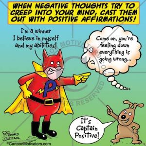 negative thoughts cartoon with Captain Positive who is arguing with a cloud that is having negative thoughts also a cartoon of a dog