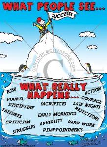 cartoon of an iceberg illustrating that success isn't easy, guy at top of iceberg enjoying his success