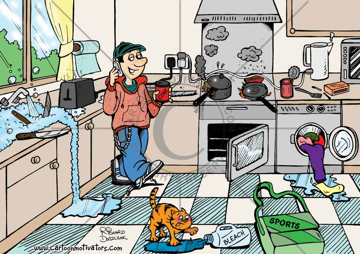 Cartoon Of Teenager On A Mobile Phone In A Kitchen Oblivious Of