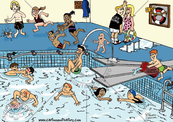 Cartoon Of An Indoor Swimming Area Surrounded By Different Health - Map of the us hazards comic