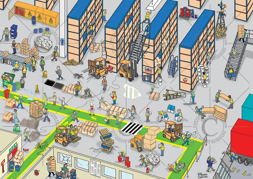 warehouse health and safety cartoon - spot the hazards in a warehouse. Warehouse hazard spotting cartoon. Spot the hazards in the warehouse? Educate your warehouse staff with this cartoon - health and safety cartoons can save accidents. List of hazards in