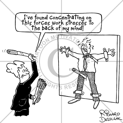 Stress Relief Cartoon Work Colleague Is Doing A Knife Throwing Circus Act
