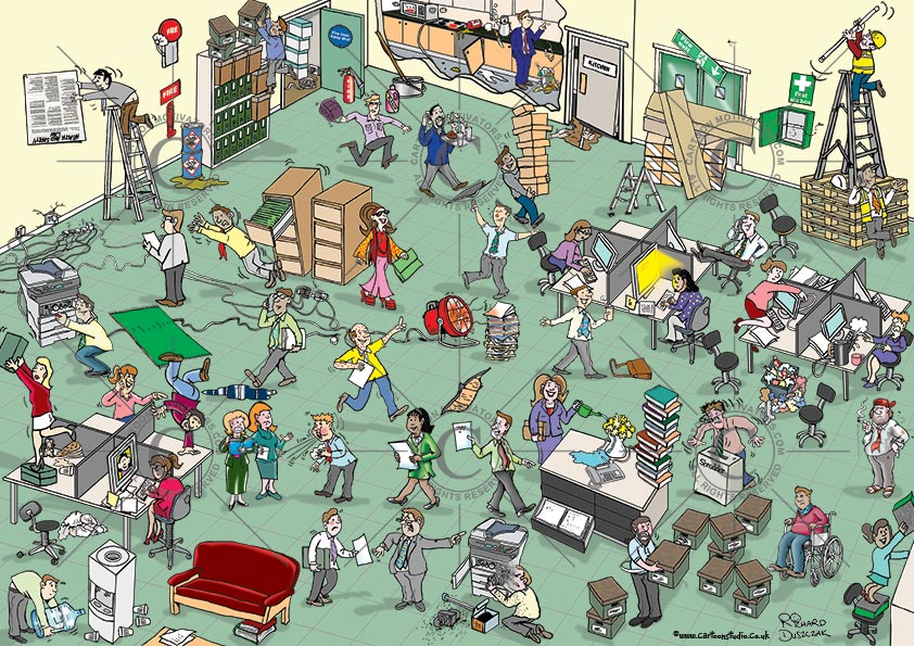 Office Health and safety hazards cartoon. Hazards in a office environment. Spot the health and safety hazards cartoon. Numerous health and safety hazards illustrated in this office hazards cartoon. Health and safety cartoon for training purposes - ask you