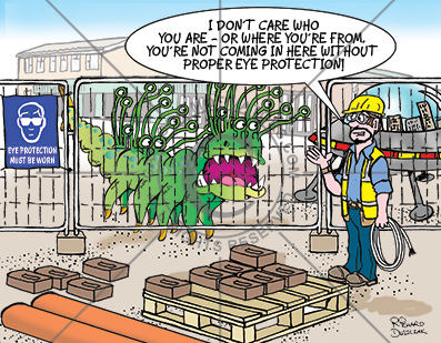 Health and safety cartoon about wearing proper eye protection. Guy on building site talking to alien/monster that has 20 eyes.