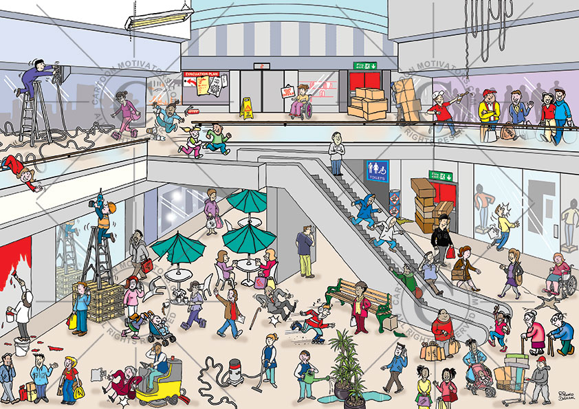 shopping mall hazard spotter, safety cartoon, Office Health and safety hazards cartoon. Hazards in a office environment. Spot the health and safety hazards cartoon. Numerous health and safety hazards illustrated in this office hazards cartoon. Health and